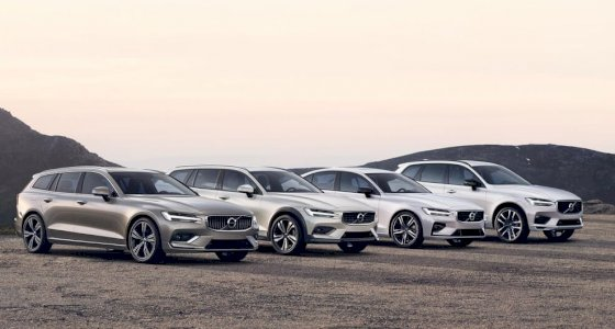 Volvo V60 INSCRIPTION in Pebble Grey metallic, Volvo V60 CROSS COUNTRY in Birch Light metallic, Volvo S60 R-DESIGN in Crystal White Pearl, Volvo XC60 R-DESIGN TWIN ENIGNE in Crystal White Pearl stehten auf einer sandigen Oberfläche, Berge im Hintergrund